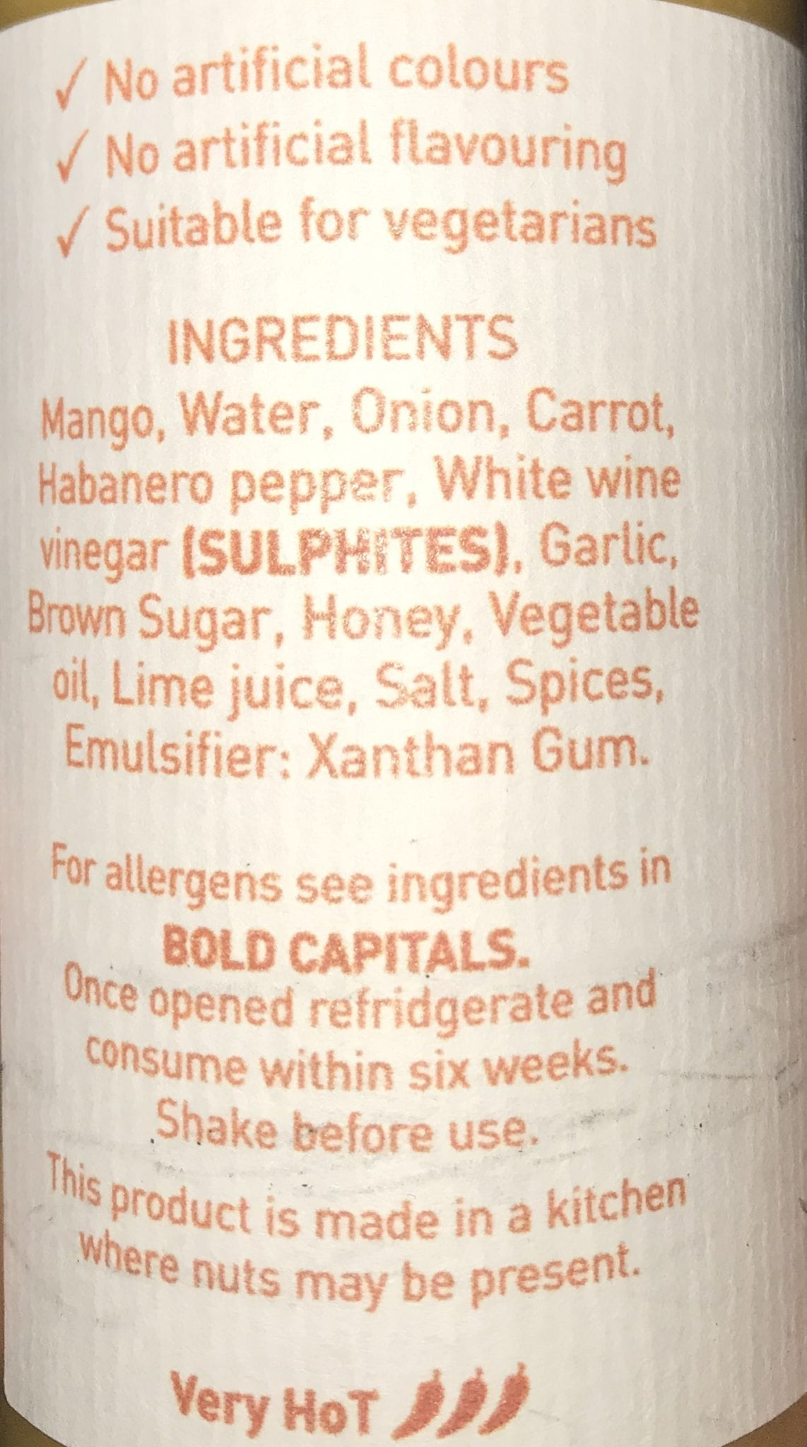 JHS Mangonero Ingredients