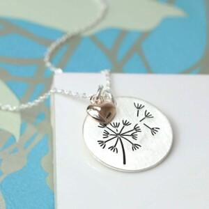Silver Plated Dandelion Disc Necklace