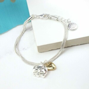 Silver plated triple strand bracelet with gold heart & silver plated elephant