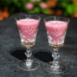 Blissful rose pink candles in vintage sherry glasses