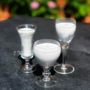 Time to relax soft grey candles in vintage sherry glasses