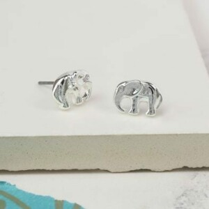 Silver plated elephants with faceted clear crystal eyes