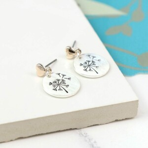 Silver Plated Dandelion Disc And Heart Earrings