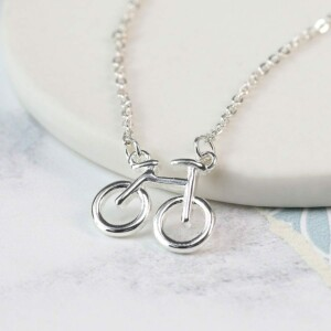 Silver plated bicycle necklace