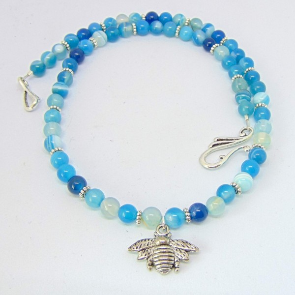 Blue Agate Bumble Bee Necklace