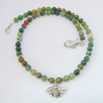 Indian Agate Bumble Bee Necklace