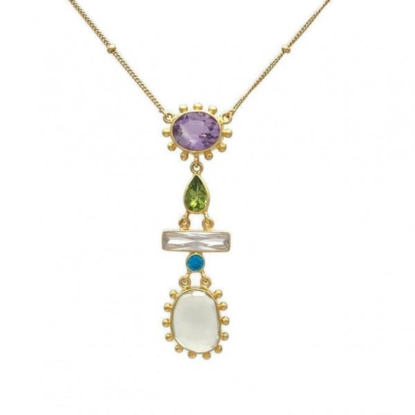 Enona Necklace – Amethyst, Peridot, Lemon Quartz And Cubic Zirconia, Nicky Blystad