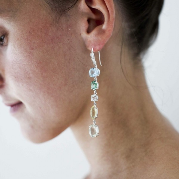 Odite Hook Earrings – Blue Topaz, Lemon Quartz, Cubic Zirconia, Green Amethyst, Nicky Blystad