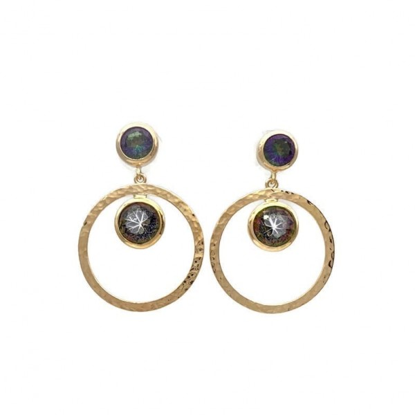 Tisella Post Drop Earrings, Gold Plated Silver, Mystic Topaz, Nicky Blystad